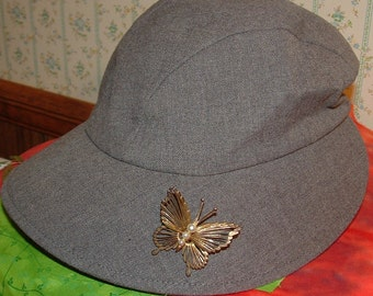SALE vintage  HAT with BUTTERFLY BROOCH