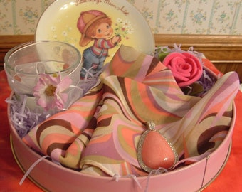 Gift Basket Tin Large Pink Teardrop Cabochon with Rhinestone Pendant ,Swirl multicolor Scarf , Mother's Day plate, Gift in a Pink Rose Tin