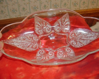 Vintage Footed glass dish with Raised Dot Design of leaves, party tray, vegetable tray