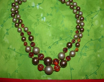 Vintage  Brown and Taupe Pearls with Amber Cystals Necklace
