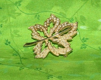 Vintage Gold and Pearl Leaf  Brooch
