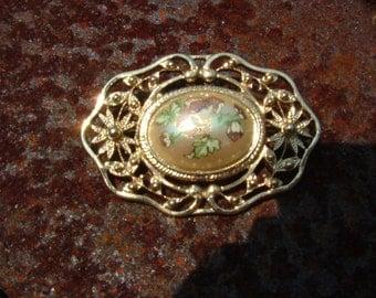 SALE    Cloisonne Pearl brooch