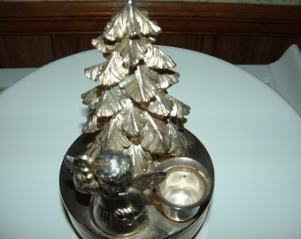 Vintage Music Box with Christmas Tree Angel Candle Holder Silver Plated