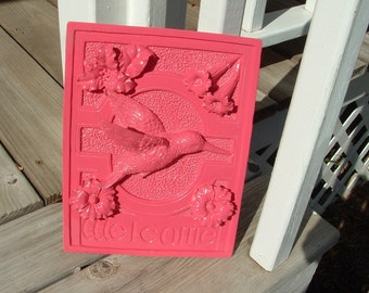 Pink Hummingbird Welcome Plaque