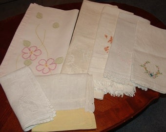 Vintage Linen Towels ,Table Scarves and Napkin for Crafting