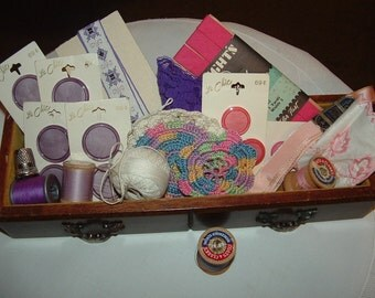 Vintage Wood Jewelry Drawer Box full of vintage Sewing Supplies Buttons,Thread,Crochet