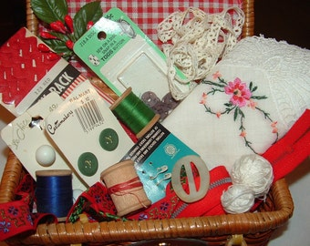 Red Gingham Sewing Basket with lots of Sewing Notions, Thread, Buttons, Buckles, Ric Rac, Lace
