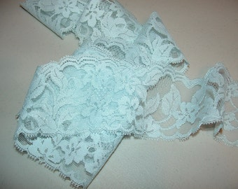 7 2/3 Yards  Lace trim  Light Blue Flowers with Leaves Soft  Lingerie Lace