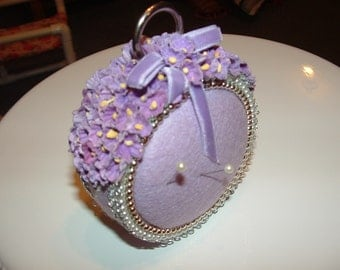 Purple Flowers with Pearls Beads and Ribbon Pin Cushion