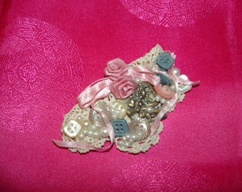 Vintage Handmade Pink Rose and Pearls  Doily Brooch