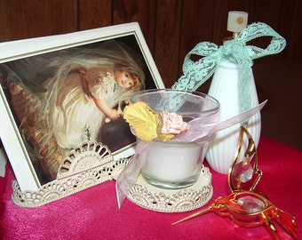 Clearance sale.....Wire Tray with Collection of Greeting Cards, Candle,and perfume /Cologne Bottle ,Gold plated Crystal Hummingbird