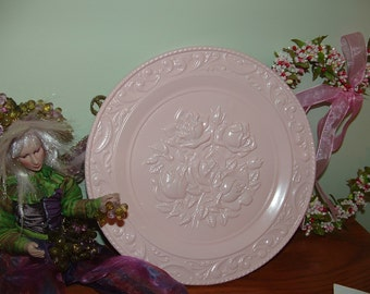 Pink Pressed Metal Rose Decorative Wall Plate