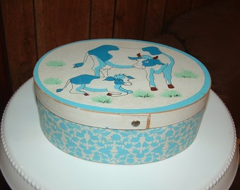 1983 Blue Cow and Calf  wood box Collectible wooden box Kitchen storage box keepsake box