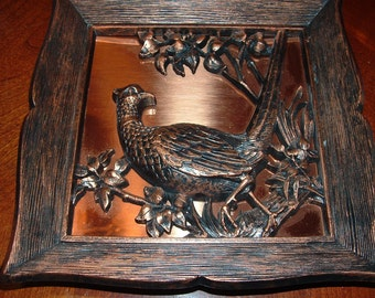 SALE........1963 Copper Pheasant in framed 3D plaque, Bird, Vintage decor, Hunting , Bronze