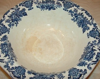 Royal Homes of Britain vegetable bowl with blue floral transferware  by Enoch Wedgewood Antique
