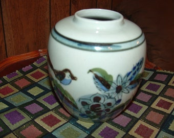 Blue Bird with Flower and Butterflies vase