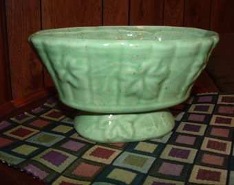 Green with Brown Speckles oval footed Planter