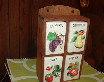 SALE.....Wood Spice Rack with ceramic Fruit Design Shakers French Country Kitchen raised fruit
