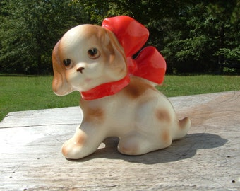 "Clearance SALE....Nippon Cocker Spaniel Puppy with Red Bow figurine, Signed ""Nippon"" Dog Figure, Puppy, Porcelain"