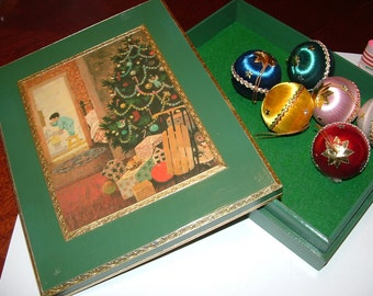 Vintage Hand Decorated Christmas Card Box