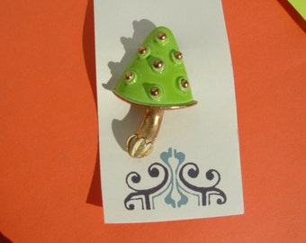 SALE........Vintage Green Enamel Mushroom Brooch with Gold spots