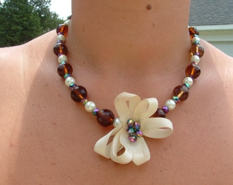Necklace Light Chocolate Amber Crystals, Pearls, and Aurora Borealis crystal Beads with Ribbon bow