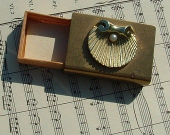 Antique Matchbox for Ladies Purse with Goldtone cover with Shell and pearl