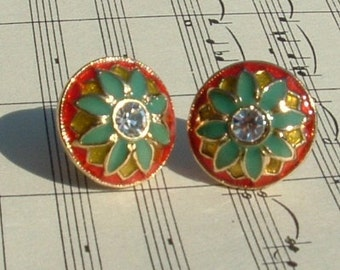 Red, Green, and Yellow Cloissone with Faceted Crystal  Pierced Earrings