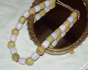 Green and Purple Lucite Bead Necklace