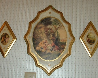 French Country Set of Romantic Italian Victorian Scenes on Wood plaques with Gold Gilt edges