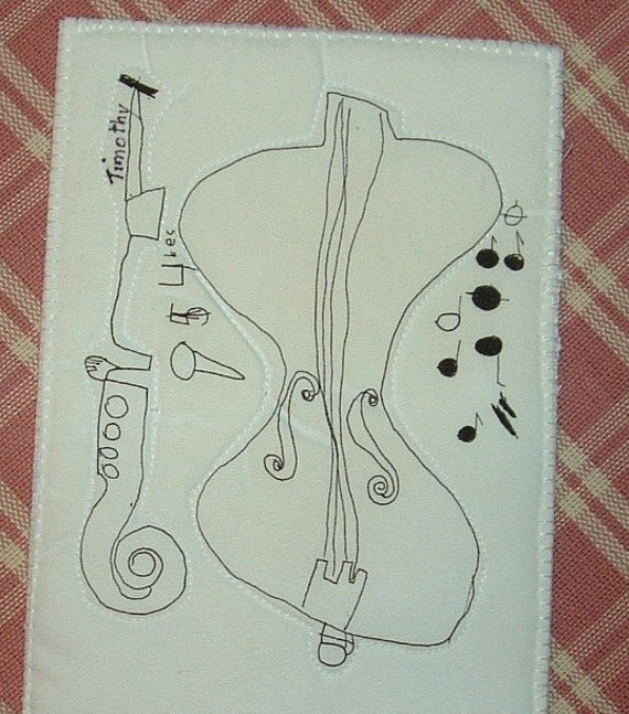 Fabric Postcard of 8 year old Grandsons Abstract art Violin ink Drawing postcard