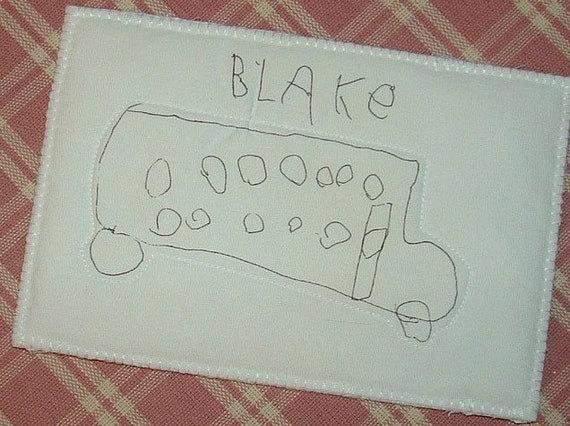 5 year old grandsons drawing of a School bus postcard number 2