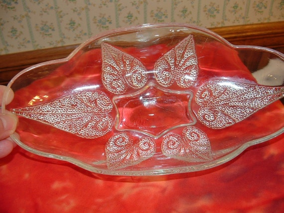 Footed glass dish with Raised Dot Design