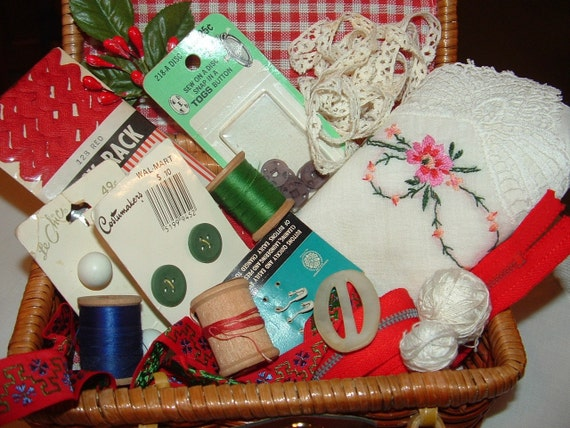 Red Gingham Sewing Basket with lots of Sewing Notions