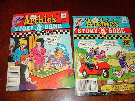 1980s  Set of 2  Archie's Story and Game Comic Digest Magazines paper