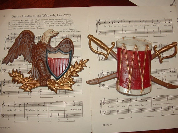 Revolutionary War Wall Decor with Sexton cast iron Drum and Eagle set