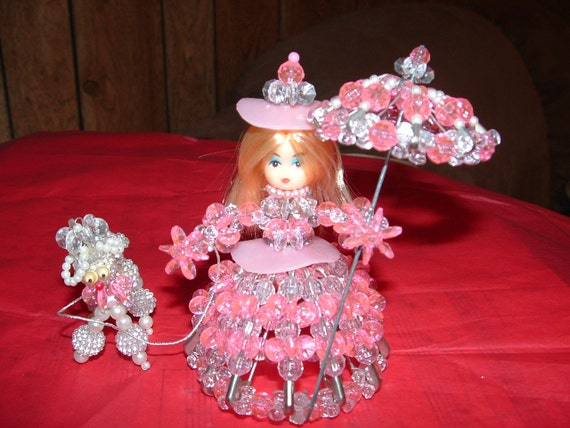Hold for Victorian Lady Vintage Pink Antebellum Lady with her Poodle Safety Pin Art