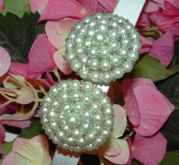 Light Blue Faux Pearls with tiny clear beads Clip Earrings