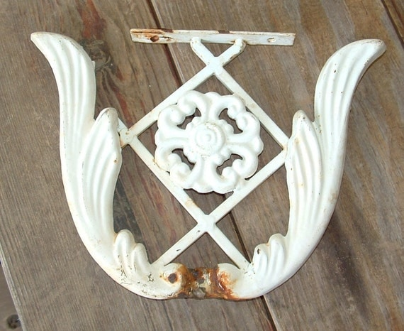 Cast Iron Architectural Salvage Garden Wall Hanging Decor painted White