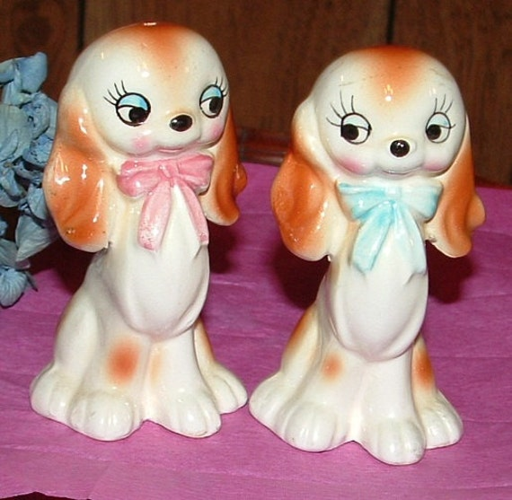 Cocker Spaniel Porcelain Salt and Pepper Shakers with Blue and Pink Bow ties
