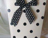 Black Dot Wastebasket with Bow