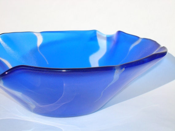Electric Blue Fused Glass Bowl