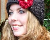 Grey tweed knit hat