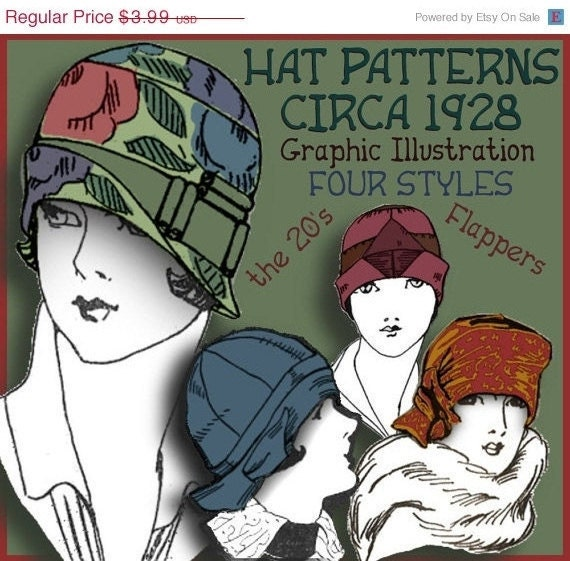 1920s Style Hats  4 - 1920s FLAPPER CLOCHE Hat - DOWNTON Abbey Style e-Patterns (Shirley Set) Pdf A $3.99 AT vintagedancer.com
