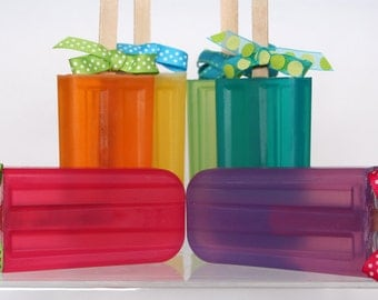 6 Fruity Rainbow Glycerin Soap Pops for Party Favors or Birthday Gifts-  Free Shipping