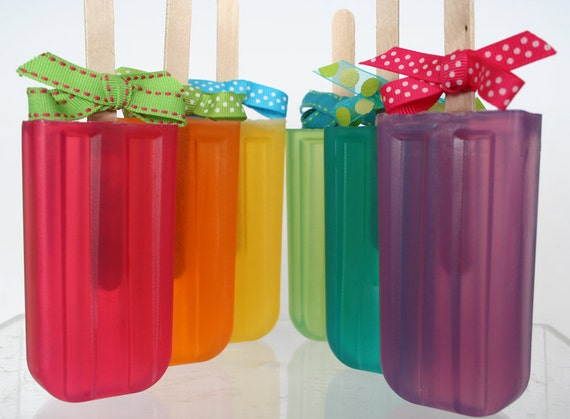 Fruity Rainbow Glycerin Soap Pop for Party Favors, Birthdays or Gifts