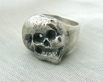 Contrast Polish/Rustic Men Skull Ring --  SIZES 10 to 12