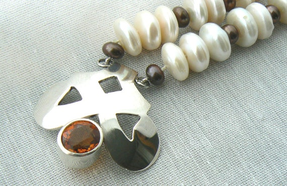 SALE 50%- Eleonore I - Pearls, Silver and Citrine Necklace - Ready to ship