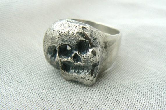 Contrast Polish/Rustic Men Skull Ring --  SIZES 10 to 12