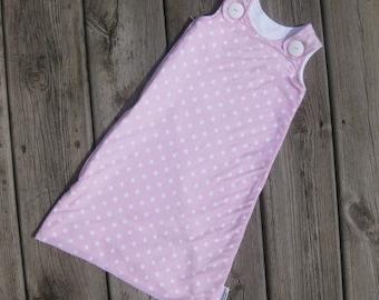 Maryjane Summer Sleep Sack 0-6m, Light Pink with White Polka Dots